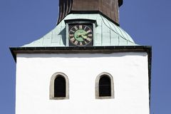 Tower of the St Nikolai church in Bad Essen, Osnabrück country, Lower Saxony, Germany Royalty Free Stock Images