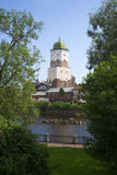 The tower of St. Olaf's summer day. Vyborg castle Royalty Free Stock Image