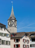 Tower of the St. Peter Church in Zurich Stock Photo