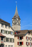 Tower of the St. Peter Church in Zurich Royalty Free Stock Photos