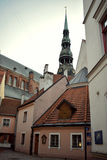 The tower of the St.Peter`s church in Old Riga Royalty Free Stock Photo