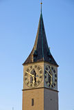 Tower of St. Peter in Zurich Stock Image