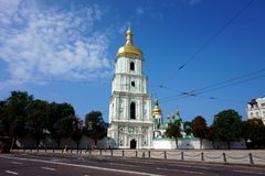 Tower of St. Sophia`s Cathedral in Kiev.  stock image