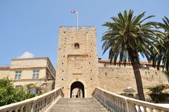 Tower with staircase to the old town. Korcula, Croatia Royalty Free Stock Images