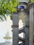 Tower stairs in moorish style architecture Kuala Lumpur. Malaysi. Moorish style architecture and heritage building in the background Stock Photo
