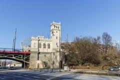 Tower and Stairs to the Poniatowski Bridge Royalty Free Stock Photos
