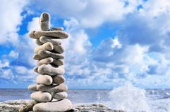 Tower of Stones. An view of a beautiful tower structure made of stones on the beach Stock Photography