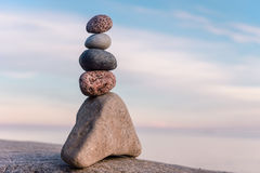 Tower of stones. Balancing some of stones on the seashore royalty free stock photos