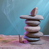Tower of stones and frankincense in the sand Stock Images
