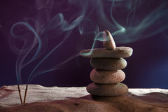 Tower of stones and frankincense in the sand Stock Photo