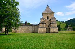 Travel Romania: Sucevita Monastery Tower. The west tower and walls of the stronghold surrounding the Holy Monastery of Sucevita, in Bucovina, a part of Moldavia Royalty Free Stock Image