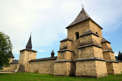 Travel to Romania: Tower of Sucevita Monastery. The west tower and walls of the stronghold surrounding the Holy Monastery of Sucevita, in Bucovina, Moldavia Royalty Free Stock Image