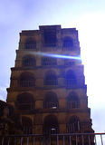 Tower with sun rays at thanjavur maratha palace. The Thanjavur Maratha Palace Complex, known locally as Aranmanai, is the official residence of the Bhonsle stock photos