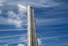 Tower of a suspension bridge stock images