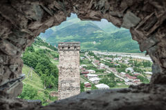 Tower. Svaneti tower on caucasus mountain Royalty Free Stock Photography
