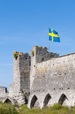Tower with swedish flag city wall Visby Royalty Free Stock Photo