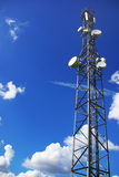 Tower of telecommunications. Tower of telecommunications in blue sky stock photo