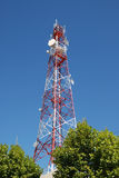 Tower with telecommunications antennas Royalty Free Stock Photos