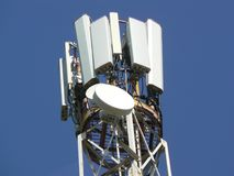 Tower of telecommunications. Mast for mobile communications. Stock Photos