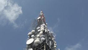 Tower for telecommunications, television broadcast, cellphone, radio and satellite on Linzone mountain peak