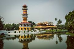 Tower,Thailand. Church tower built in the reign of the fifth to take a look on a herd of wild elephants. The palace and the surrounding landscape is painted Royalty Free Stock Photos