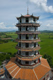 Tower Tiger Temple. Fields rice Kanchanaburi Thailand Royalty Free Stock Images