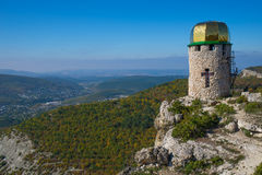 Tower on top of a mountain. Bell tower stands on top of a mountain in Crimea, Ukraine Royalty Free Stock Image