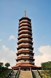 buddhism  temple pagoda  on the top of  mountain  Royalty Free Stock Photo
