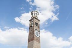 Tower - Torre dei Lamberti on a blue sky. Torre dei Lamberti in Piazza delle Erbe square royalty free stock image