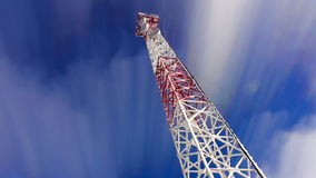 Tower. Tower and sky. clouds and height tower. Telecoms transmitter on sky and clouds. stock video