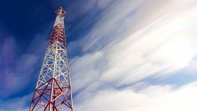 Tower. Tower and sky. clouds and height tower. Telecoms transmitter on sky and clouds. stock video footage