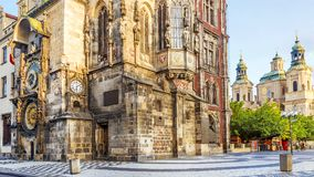Tower of town hall with astronomical clock  in Prague, Czech Rep Royalty Free Stock Photo