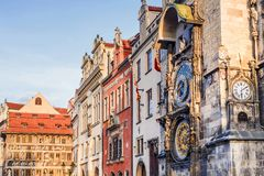 Tower of town hall with astronomical clock  in Prague, Czech Rep Stock Photo