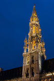 Tower of the Town Hall of Grand Place, Brussels Stock Photos