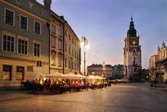 Tower of the town hall on the Krakow Market Square Stock Images