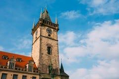 Tower of town hall in Prague, Czech Republic Stock Photos