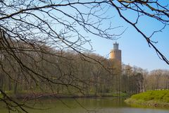 Tower, trees and pond, Maria Hendrika Park, Ostend, Belgium. Tower, forest and trees hanging over the pond at Maria Hendrika Park, Ostend, Belgium, Europe royalty free stock photos