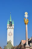 Tower and Trinity Column in Straubing, Bavaria Royalty Free Stock Photo