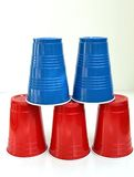 A Tower of Tumblers. Colorful plastic cups stacked in a tower Stock Images