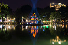 Tower of the Turtle on the lake of the Returned Sword in night illumination. Historic center of Hanoi Stock Photography