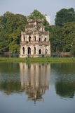 Tower Turtle with reflection. Morning on the Hoan Kiem lake, Hanoi Stock Image