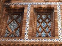 Tower of Uberto From Aragon, Replica at Poble Espanyol, Barcelona, Spain. Decorative flat brick and tile pattern, replica Tower of Uberto, from Aragon, Poble Stock Photos