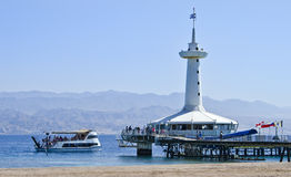 Tower of underwater observatory in Eilat, Israel Stock Photo