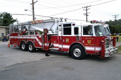 A tower unit fire truck stock photography