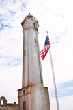 Tower and USA flag in Alcatraz Stock Photo