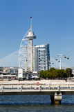 Tower Vasco da Gama. With cable car, Lisbon, Portugal royalty free stock images