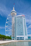 Vasco da Gama Tower and Myriad Hotel in Lisbon Stock Image