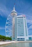Vasco da Gama Tower and Myriad Hotel in Lisbon Stock Image