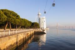 Tower Vasco da Gama by Tagus River in Lisbon Royalty Free Stock Photos