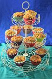 Tower of vegetable muffins. A cupcakes tower with salty savory muffins stock photo